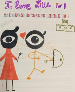 Dessin d'enfant représentant Amour avec son arc et Psyché en robe rouge.
