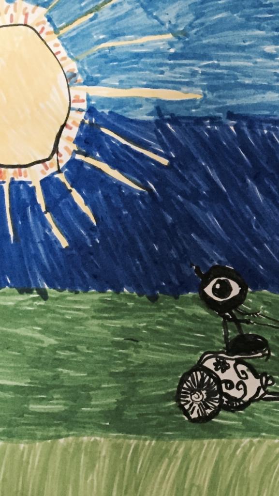 Dessin d'enfant représentant phaéton sur son char. Le ciel et l'herbe forment un dégradé de couleurs du bleu au vert. Le soleil brille dans le coin gauche.