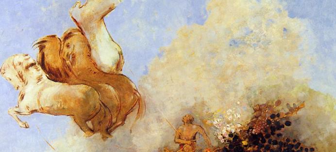 Tableau d'Odilon Redon représentant Phaéton sur un char fleuri, tombant du ciel car désarçonné par ses chevaux.