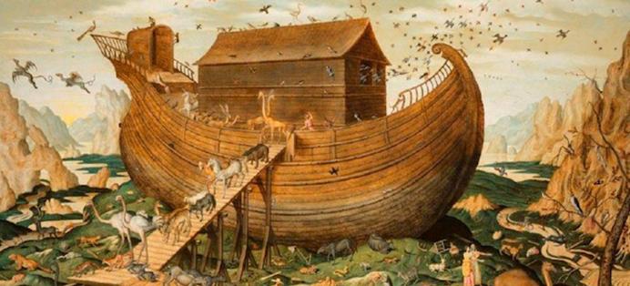 l'arche de noé, à bord de laquelle montent les couples d'animaux
