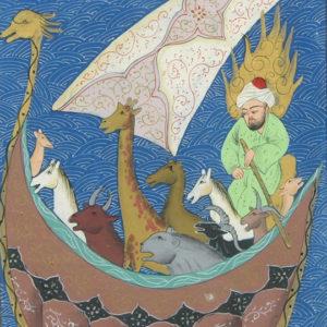 L'arche de Noé, une miniature tirée d'un manuscrit du XVIe siècle
